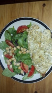 Breaded and baked tilapia with chickpea/spinach salad